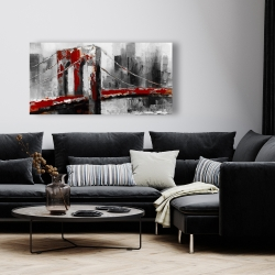 Canvas 24 x 48 - Abstract and red brooklyn bridge