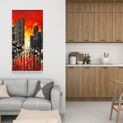Canvas 24 x 48 - Abstract sunset on the city