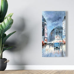 Canvas 24 x 48 - Abstract red and blue city