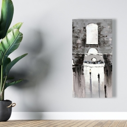 Canvas 24 x 48 - Gray building with passersby