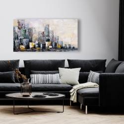 Canvas 24 x 48 - Abstract cityscape in the morning