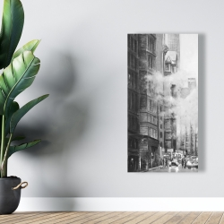 Canvas 24 x 48 - Morning in the streets of new-york city monochrome