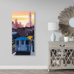 Canvas 24 x 48 - Sunset over the subway in new-york