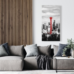 Canvas 24 x 48 - Space needle in red