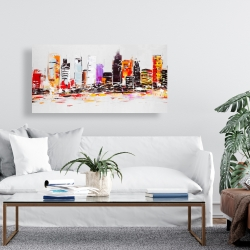 Canvas 24 x 48 - Abstract city in bright colors