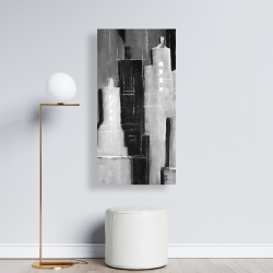 Canvas 24 x 48 - Abstract black and white cityscape
