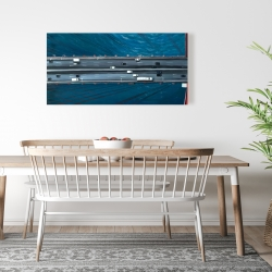 Canvas 24 x 48 - Overhead view of traffic on the golden gate