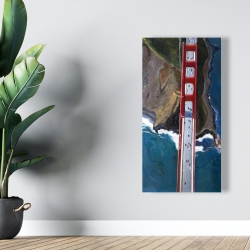 Canvas 24 x 48 - Overhead view of the golden gate and mountains