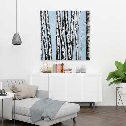 Toile 36 x 36 - Bouleaux pastel