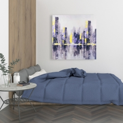 Canvas 36 x 36 - Abstract purple city