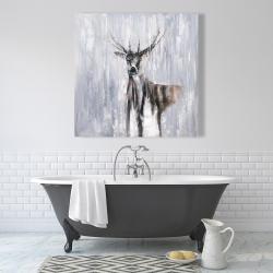Canvas 36 x 36 - Winter abstract deer