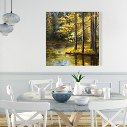 Canvas 36 x 36 - Fall landscape by the water