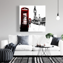 Canvas 36 x 36 - Telephone box and big ben of london