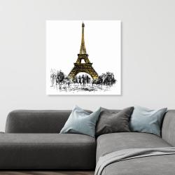 Canvas 36 x 36 - Outline of eiffel tour
