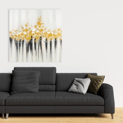 Canvas 36 x 36 - Abstract gold flowers