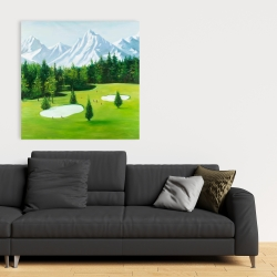 Canvas 36 x 36 - Golf course with mountains view