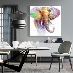 Canvas 36 x 36 - Beautiful and colorful elephant