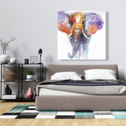 Canvas 36 x 36 - Colorful walking elephant