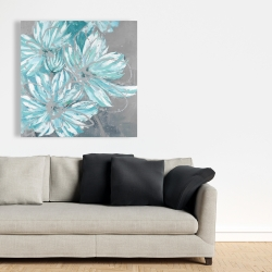 Canvas 36 x 36 - Three little abstract blue flowers
