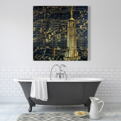 Canvas 36 x 36 - Gold city blue print