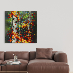 Canvas 36 x 36 - Colorful dotted leaves birches