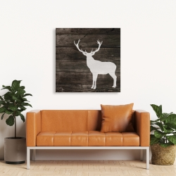Canvas 36 x 36 - Deer silhouette on wood
