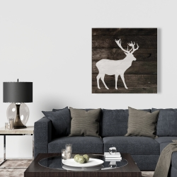 Canvas 36 x 36 - Deer on wood background