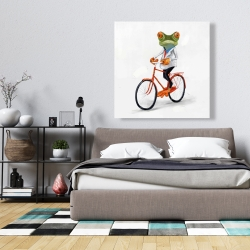 Canvas 36 x 36 - Funny frog riding a bike