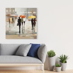 Canvas 36 x 36 - Abstract passersby with umbrellas