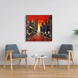 Canvas 36 x 36 - Abstract sunset on the city
