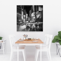 Canvas 36 x 36 - Gray busy city by night