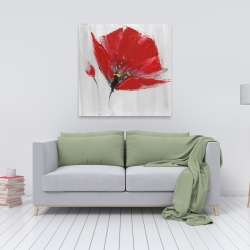 Canvas 36 x 36 - Two red flowers on gray background