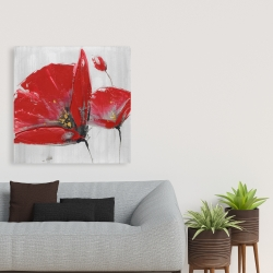 Canvas 36 x 36 - Three red flowers on gray background
