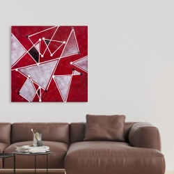 Canvas 36 x 36 - White triangles on red background