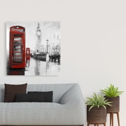 Canvas 36 x 36 - Red phonebooth with the big ben