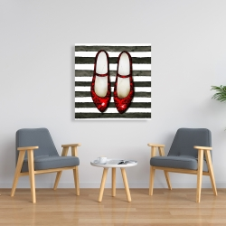 Canvas 36 x 36 - Red glossy shoes on striped background
