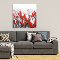 Canvas 36 x 36 - Abstract red tulips