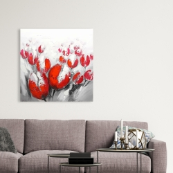 Canvas 36 x 36 - Red tulips