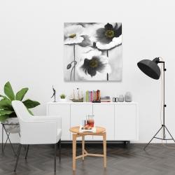 Toile 36 x 36 - Fleurs en noir et black