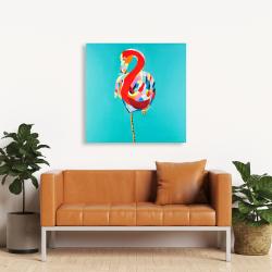 Canvas 36 x 36 - Colorful flamingo