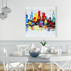 Canvas 36 x 36 - Abstract and colorful city
