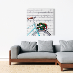 Canvas 36 x 36 - Bicycle with a bouquet of tulips