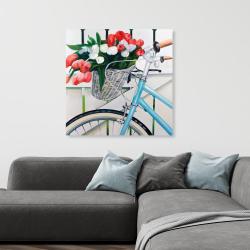Toile 36 x 36 - Bicyclette avec panier de tulipes
