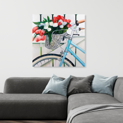 Canvas 36 x 36 - Bicycle with tulips flowers in basket