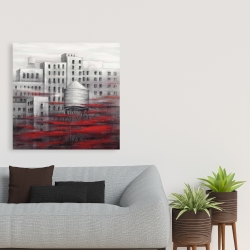 Canvas 36 x 36 - Gray city with red clouds