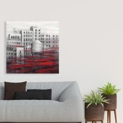 Toile 36 x 36 - Ville grise avec nuages rouges
