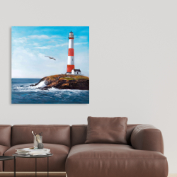 Toile 36 x 36 - Phare au bord de la mer