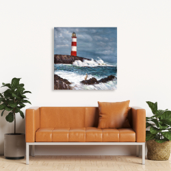 Canvas 36 x 36 - Lighthouse at the edge of the sea unleashed