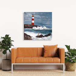 Toile 36 x 36 - Phare au bord de la mer déchaînée