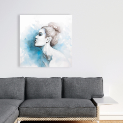 Canvas 36 x 36 - Watercolor abstract girl profile view